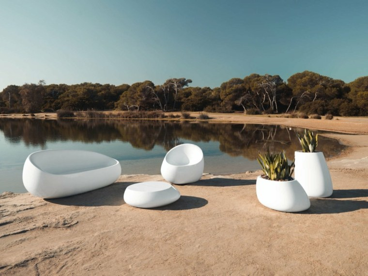 sofá de exterior moderna diseno macetas blancas ideas