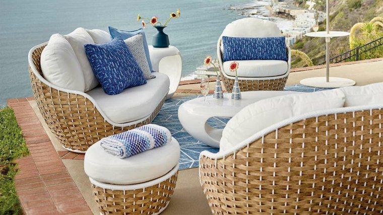 sofá de exterior moderna forma original ideas