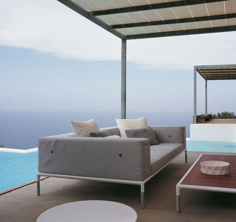 sofa exterior moderna gris pergola blanca ideas