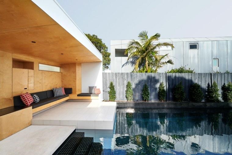 sofa exterior moderna madera cojines negros ideas