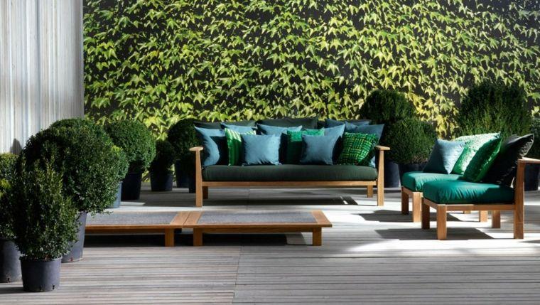 sofa exterior moderna madera cojines verdes ideas