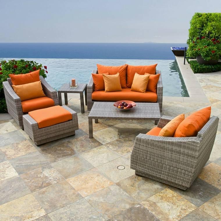 sofa exterior moderna naranja gris combinacion ideas