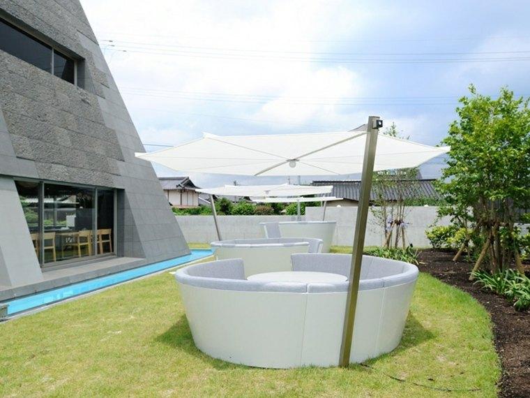 sofa exterior moderna sombrilla blanca incluida ideas