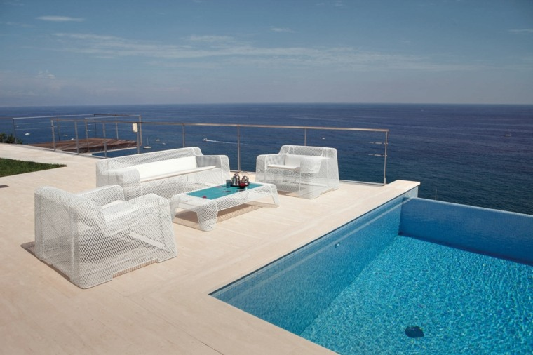 sofa exterior terraza piscina diseno simple ideas