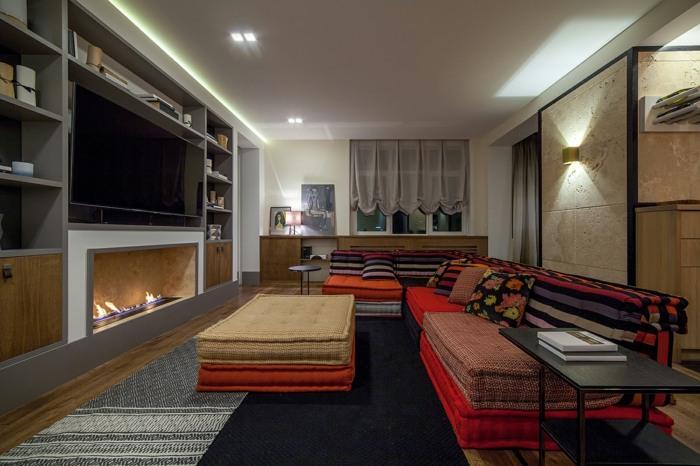 sofa mah jong elegantes detalles colgantes rayas