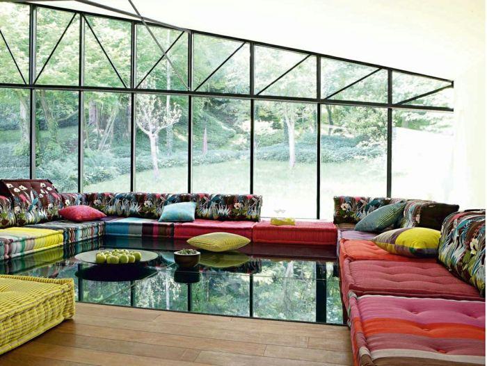sofa mah jong elegantes detalles puertas cristales