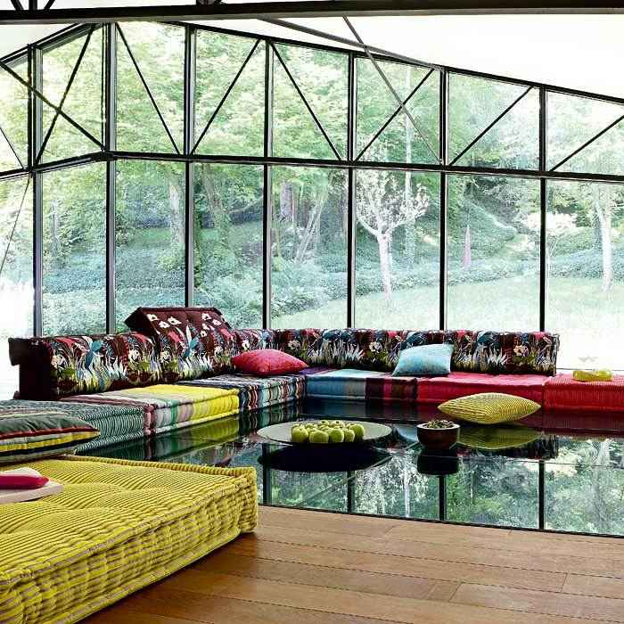 sofa mah jong elegantes lamparas cadencia vigas