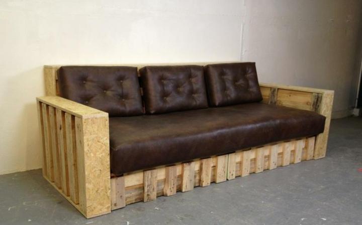 sofa marrones espaldares cuero imitaciones