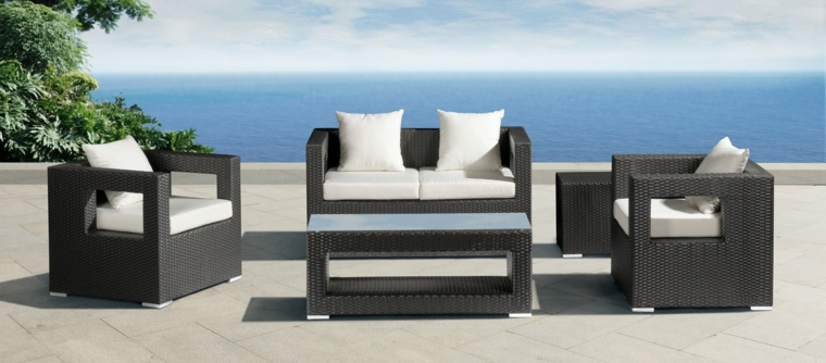 sofa moderna rattan color negro ideas