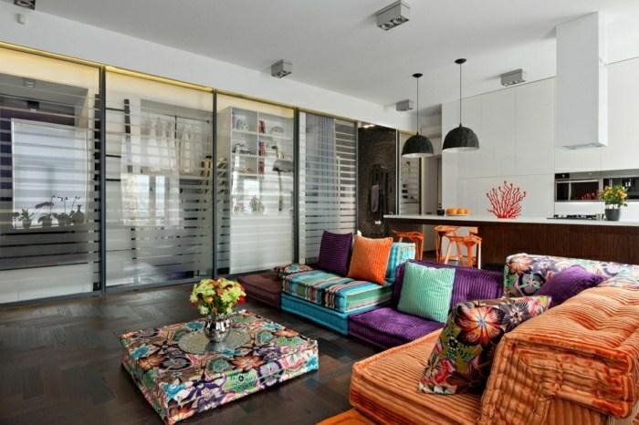 sofas ideas diseños verdes listones lamparas