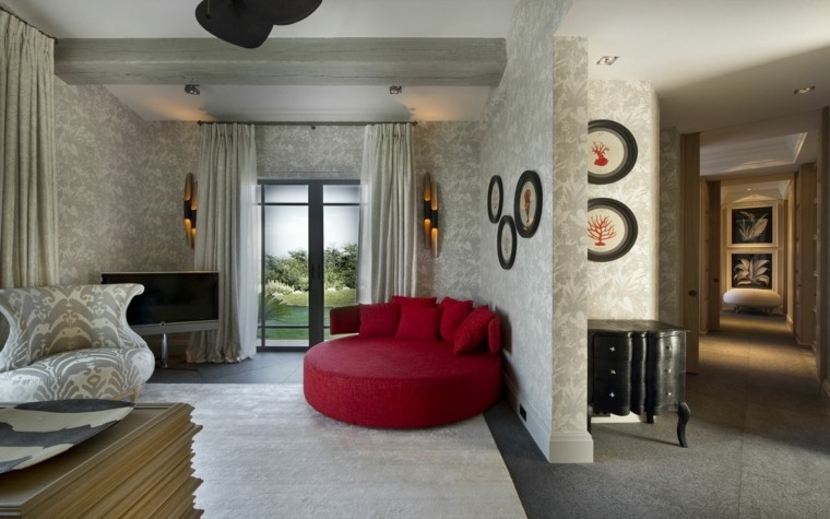 sillon redondo grande color rojo salon ideas