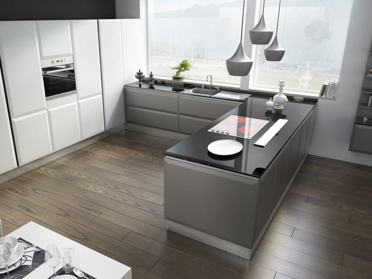 Cocina cuadrada con forma de u o l m s de 50 ideas para for Cocinas en forma de isla