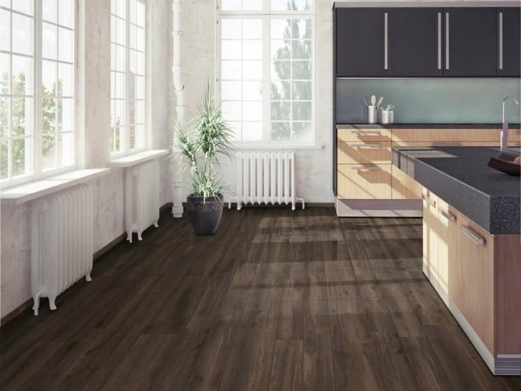 Suelos porcelanicos o cer micos que imitan madera for Cocinas con suelo gris oscuro