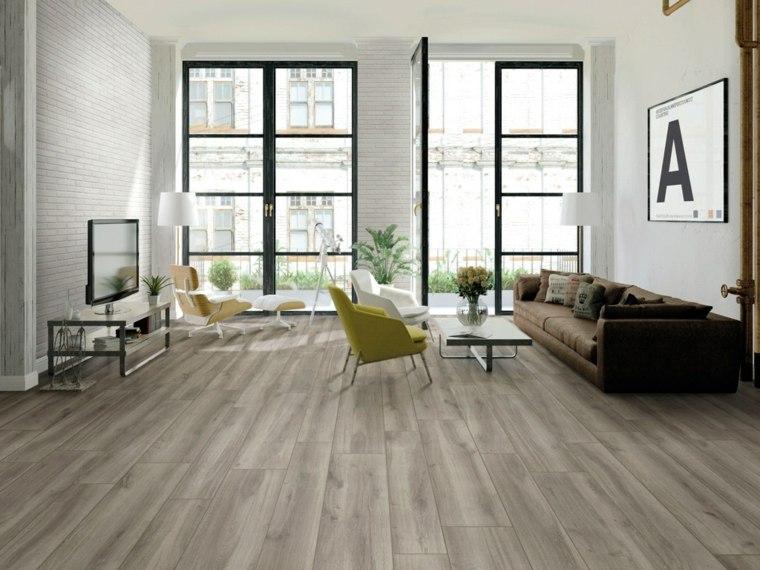 suelos porcelanicos ceramicos imitando madera salon amplio luminoso ideas - Suelos Ceramicos Imitacion Madera