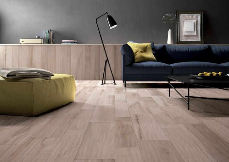 suelos porcelanicos ceramicos imitando madera salon sofa azul ideas
