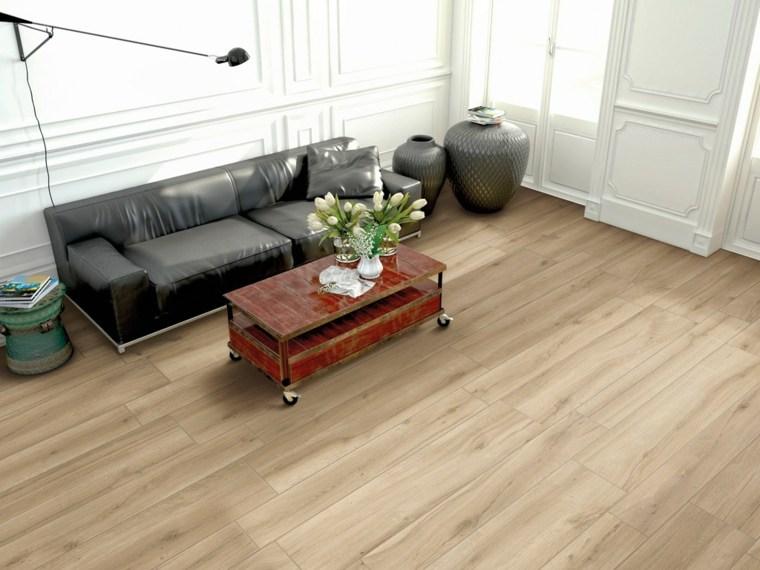 suelos porcelanicos ceramicos imitando madera salon sofa negra ideas