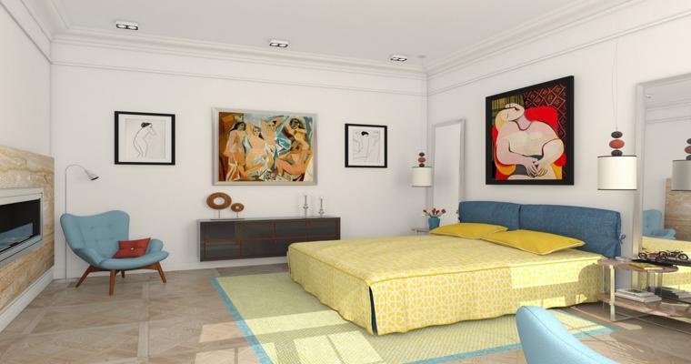dormitorio decorado reproducciones Picasso