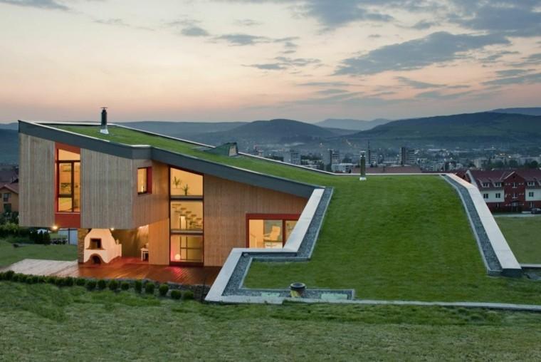 terraza azotea césped cubierta moderna