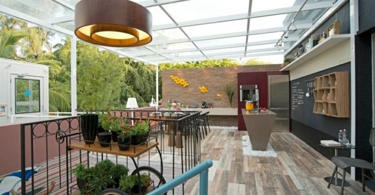 terraza cubierta porche jardin decoración