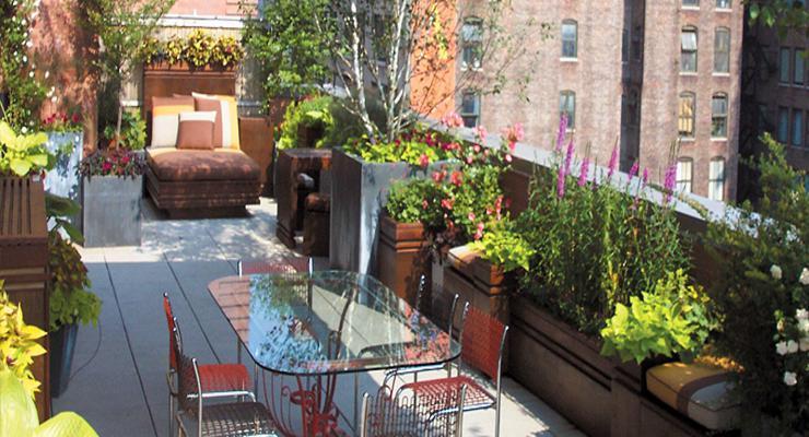terraza diseño moderno plantas
