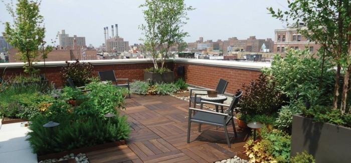 terrazas con jardin ideas lineas diseños lamparas