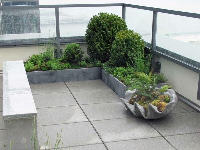 terrazas con jardin ideas lineas minimalistas macetas