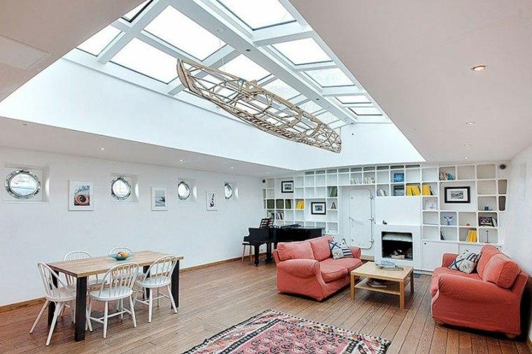 ventanas techo iluminan casa pardes blancas ideas