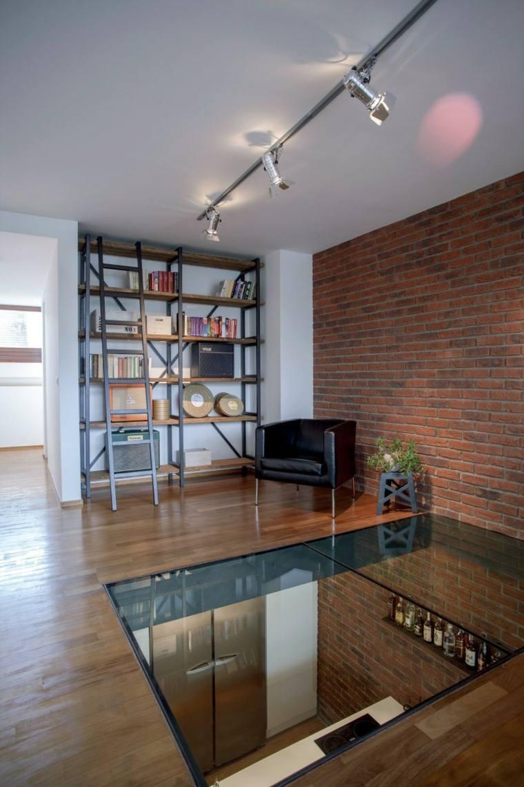 vidrio suelo madera casa moderna ideas