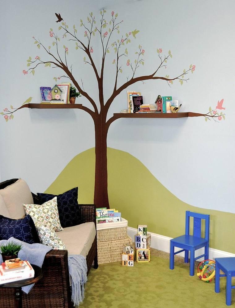 árbol decorativo pared ramas estantes