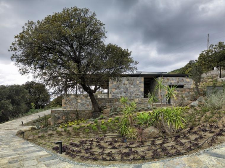 opciones casas piedra jardin colina ideas