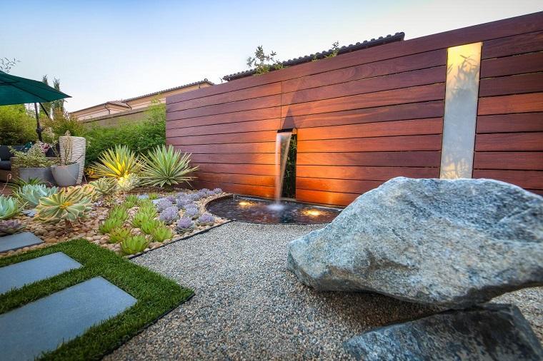 studio h landscape valla madera fuente jardin ideas