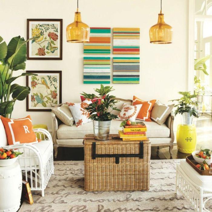 acentos coloridos muebles colores neutrales salon ideas