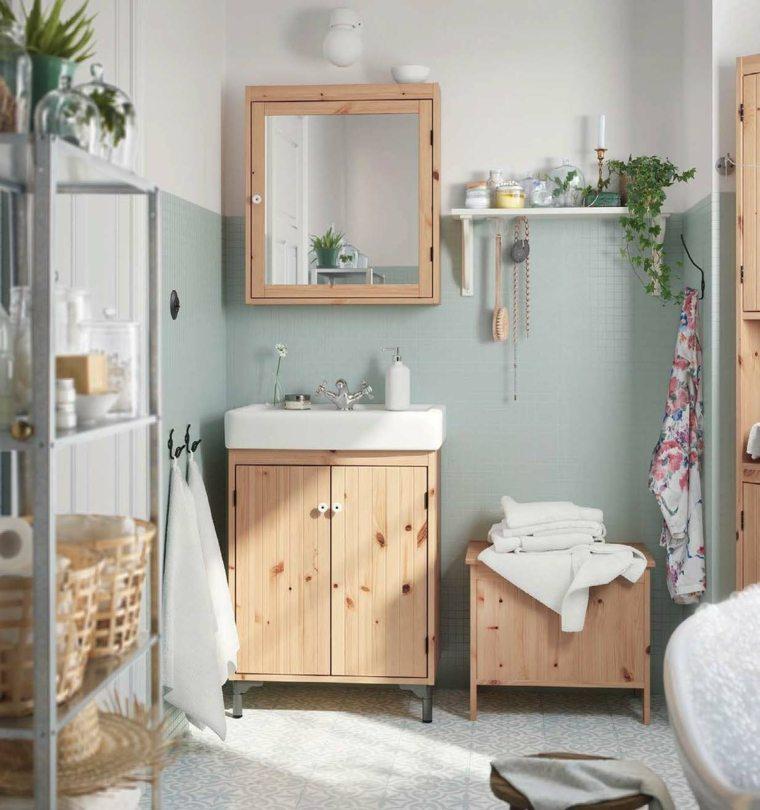 acentos mobiliario madera bano moderno ideas