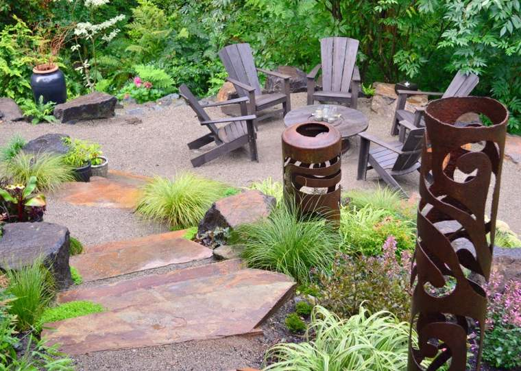 acero corten decoraciones jardin muebles madera ideas