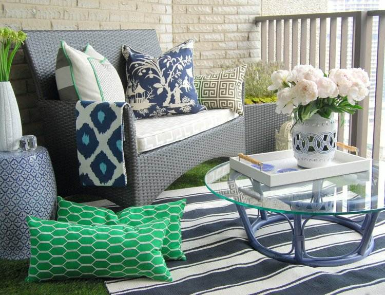 alfombra rayas blanco negro balcon ideas