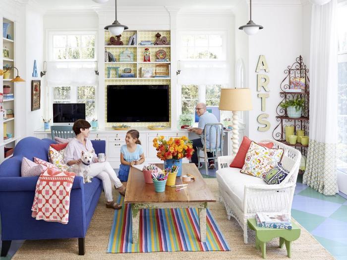 alfombra sofa coloridas salon moderno primaveral ideas