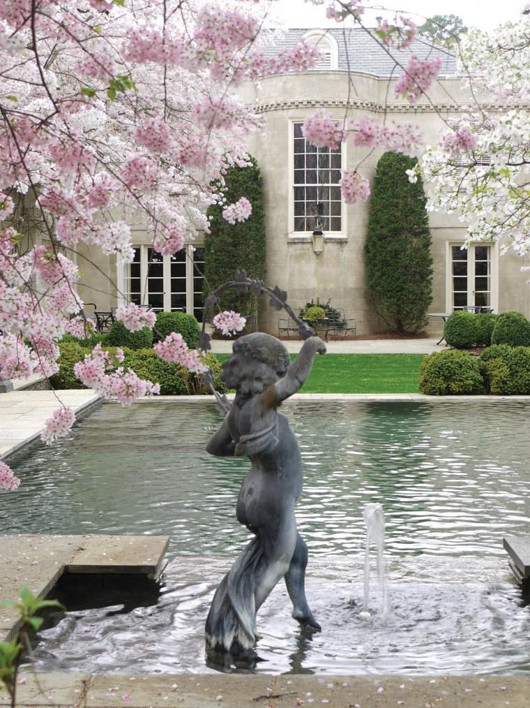 arbol florecido jardin estanque nino ideas