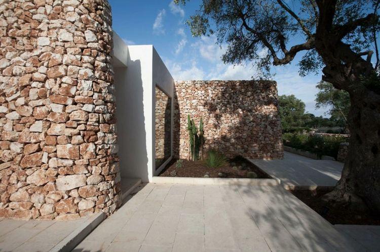 arquitectura moderna fachada piedras naturales