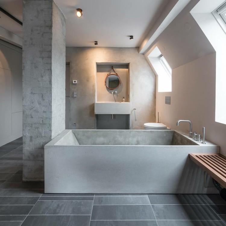 bañera moderna cemento concreto