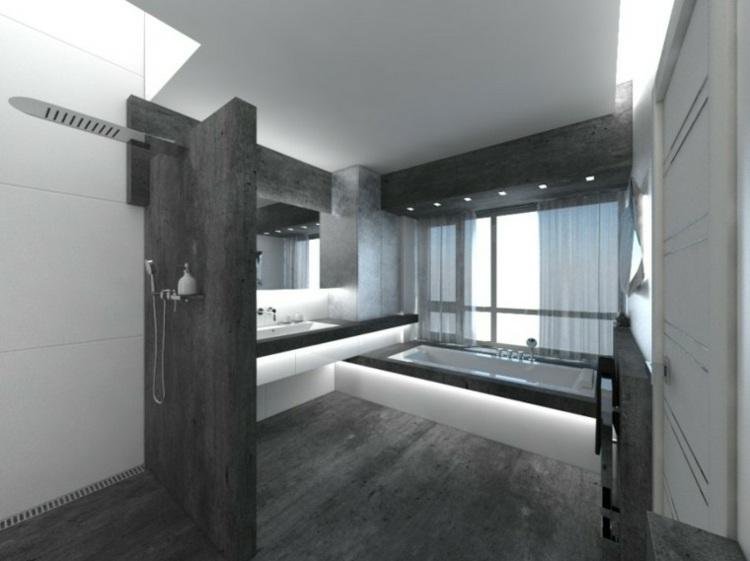 baño acabado efecto concreto