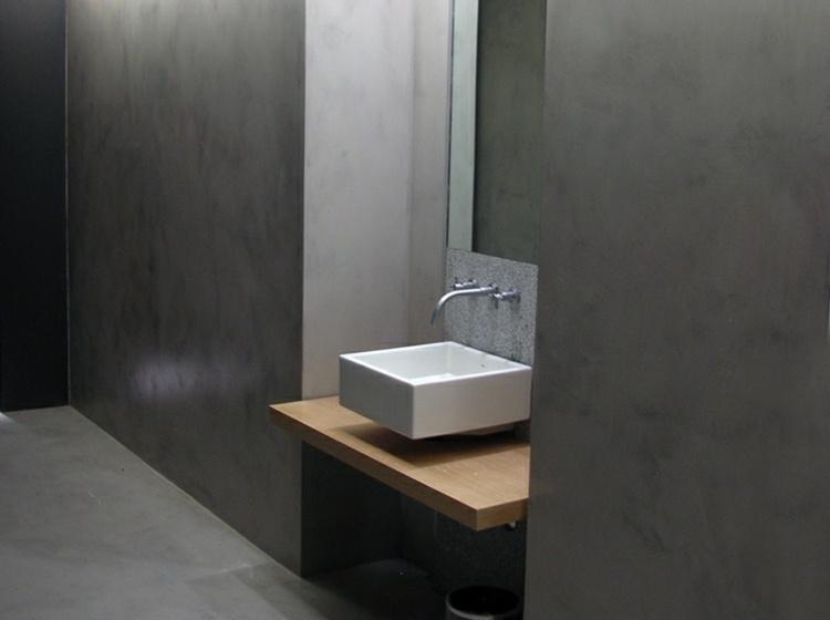 baño cemento lavabo pequeño