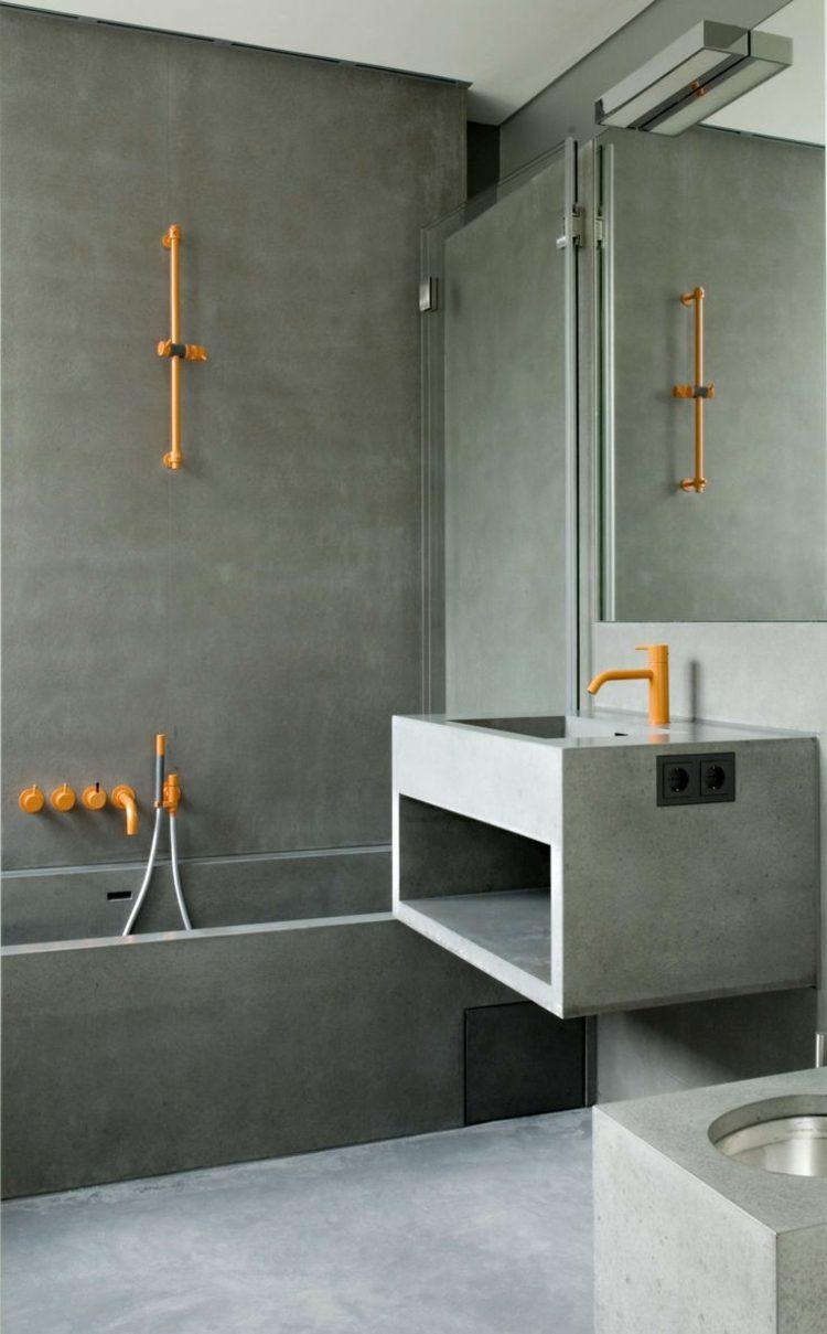 baños microcemento accesorios naranja