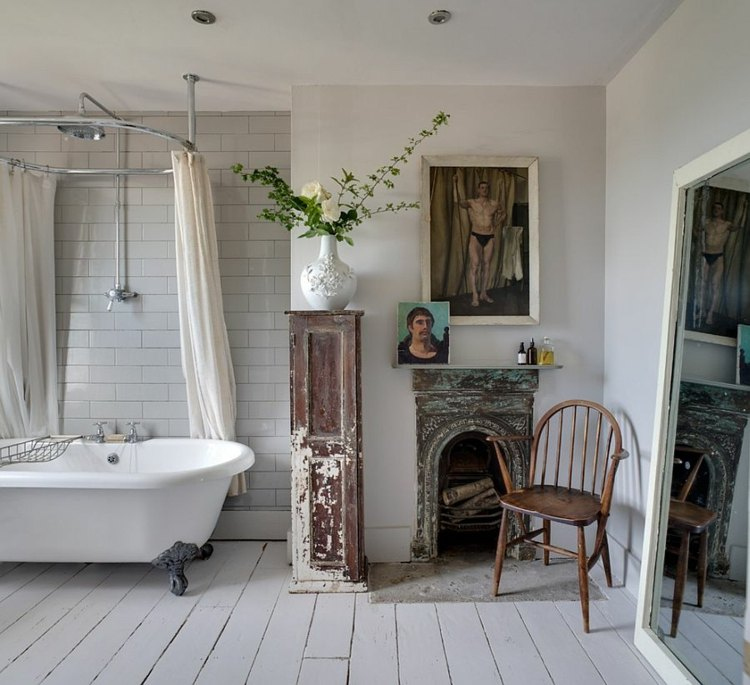 baño estilo shabby chimenea