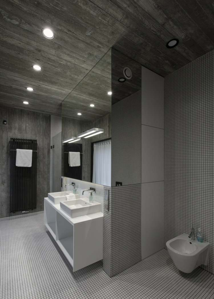 baños modernos color gris concreto