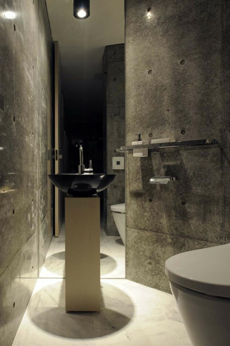 baños pequeños paredes concreto