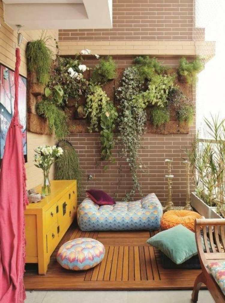 balcon muebles decoracion macetas plantas pared ideas
