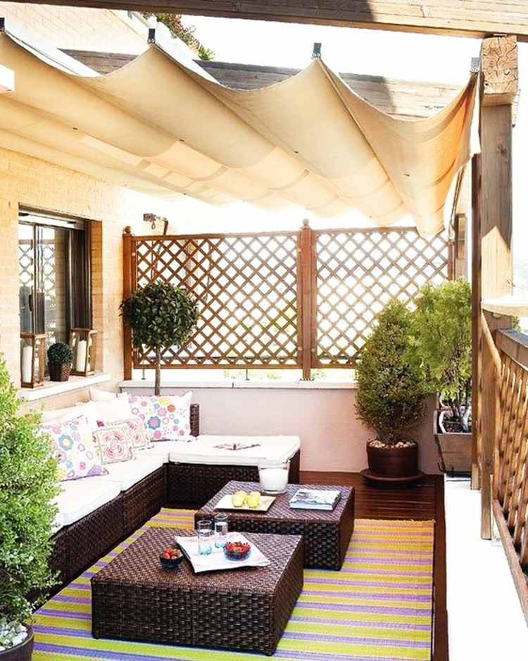 balcon muebles decoracion pergola tela ideas