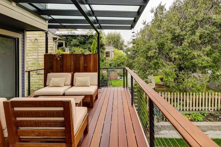 balcon muebles decoracion suelo madera ideas