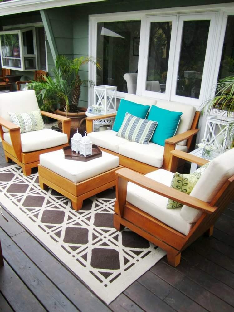 balcones decoracion alfombra muebles cojines blancos ideas