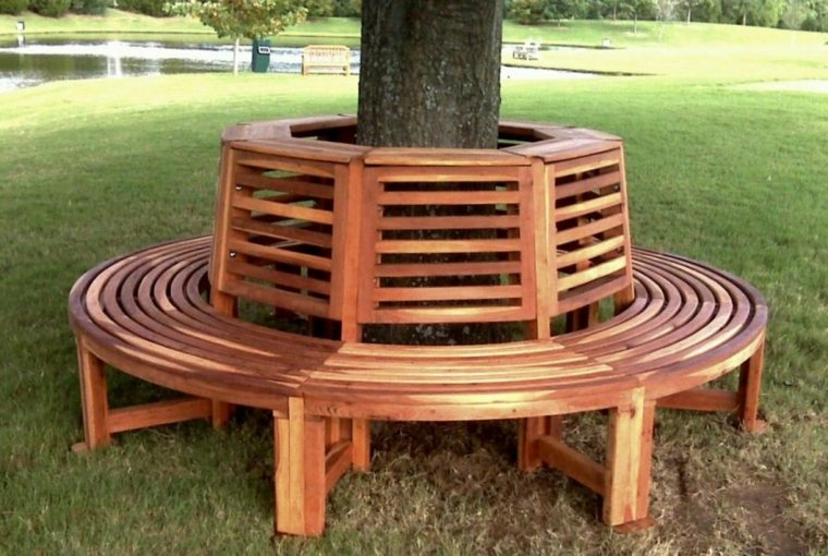 banco forma redonda madera natural